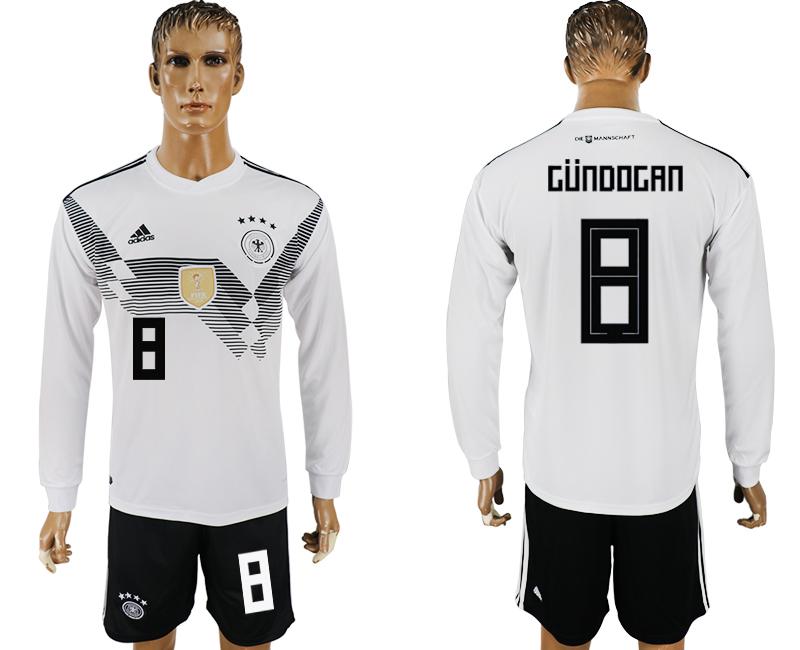 Germany 8 GUNDOGAN Home Long Sleeve 2018 FIFA World Cup Soccer Jersey