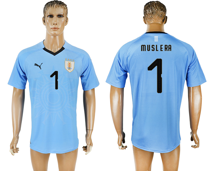 Uruguay 1 MUSLERA Home 2018 FIFA World Cup Thailand Soccer Jersey