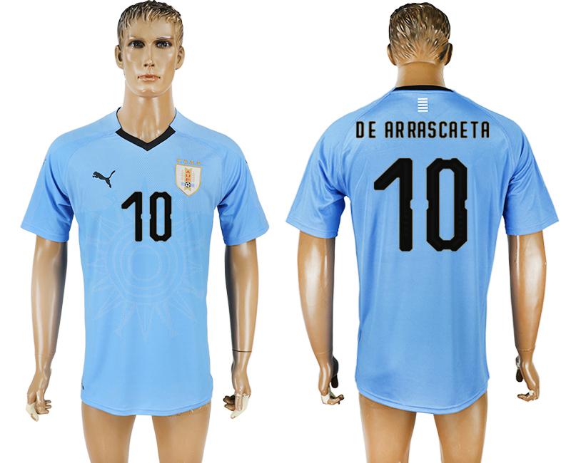Uruguay 10 DE ARRASCAETA Home 2018 FIFA World Cup Thailand Soccer Jersey