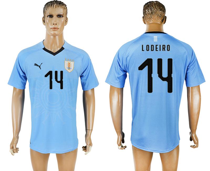 Uruguay 14 LODEIRO Home 2018 FIFA World Cup Thailand Soccer Jersey