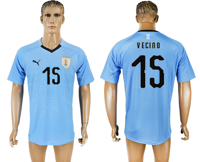 Uruguay 15 VECINO Home 2018 FIFA World Cup Thailand Soccer Jersey