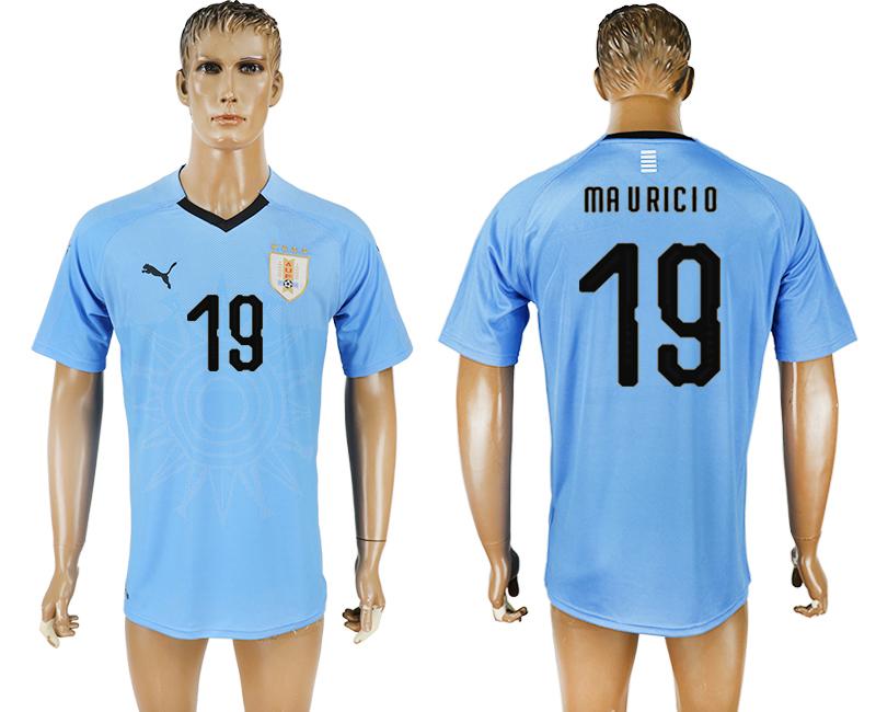 Uruguay 19 MAURICIO Home 2018 FIFA World Cup Thailand Soccer Jersey