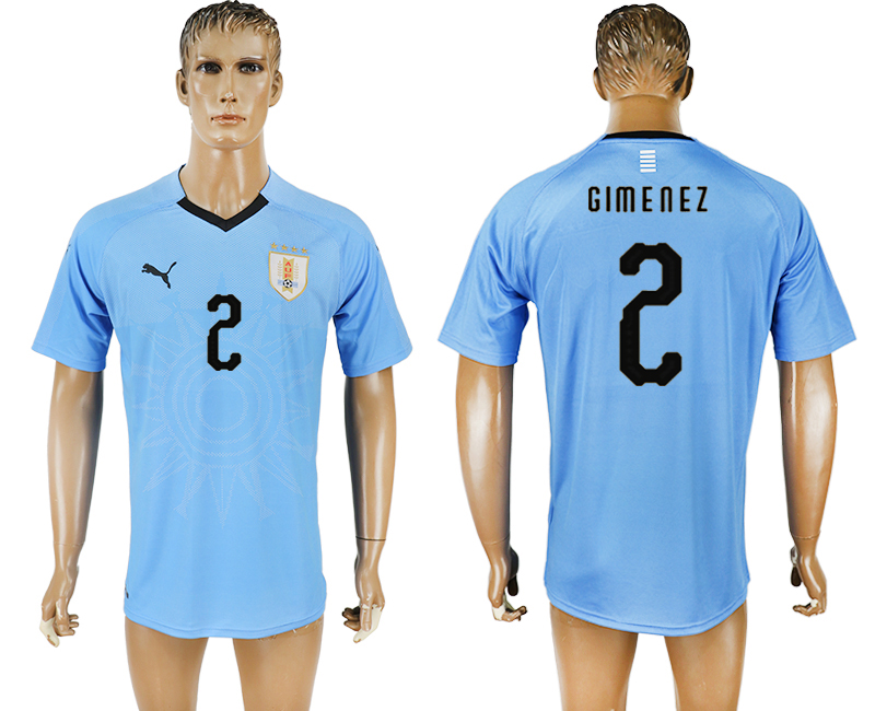 Uruguay 2 GIMENEZ Home 2018 FIFA World Cup Thailand Soccer Jersey