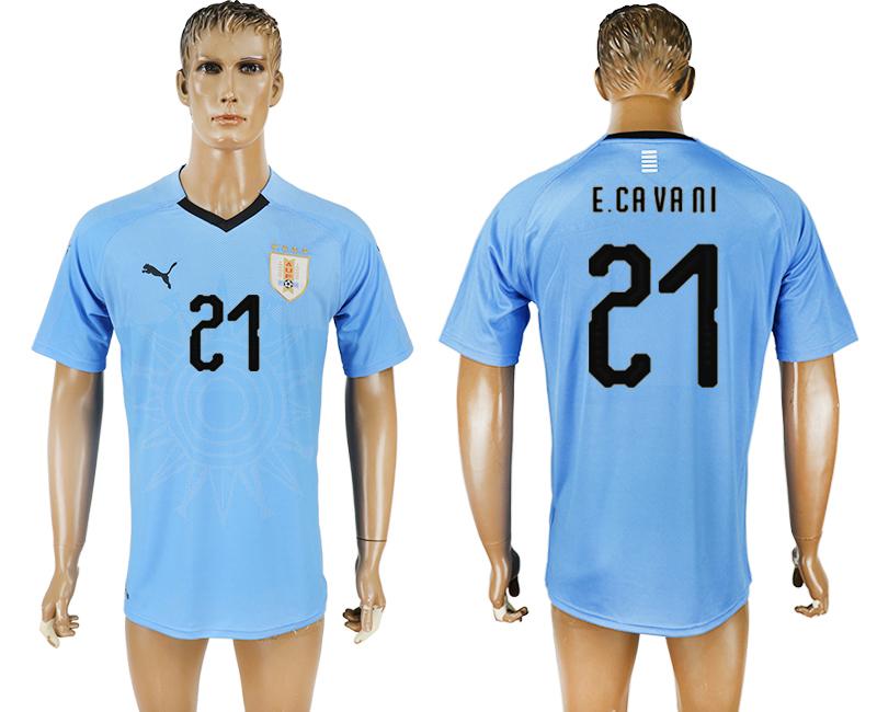 Uruguay 21 E.CAVANI Home 2018 FIFA World Cup Thailand Soccer Jersey
