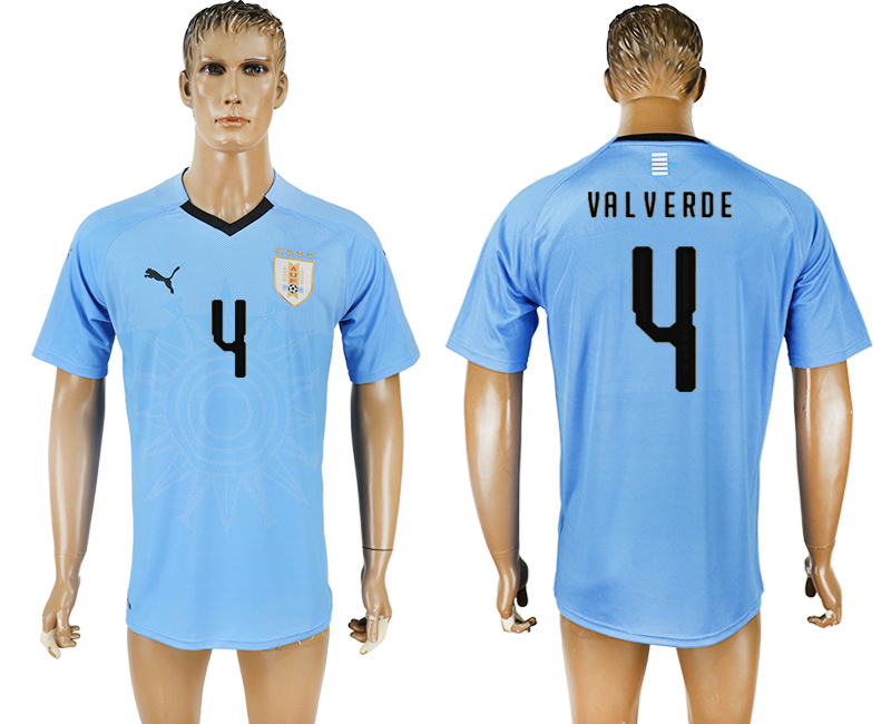 Uruguay 4 VALVERDE Home 2018 FIFA World Cup Thailand Soccer Jersey