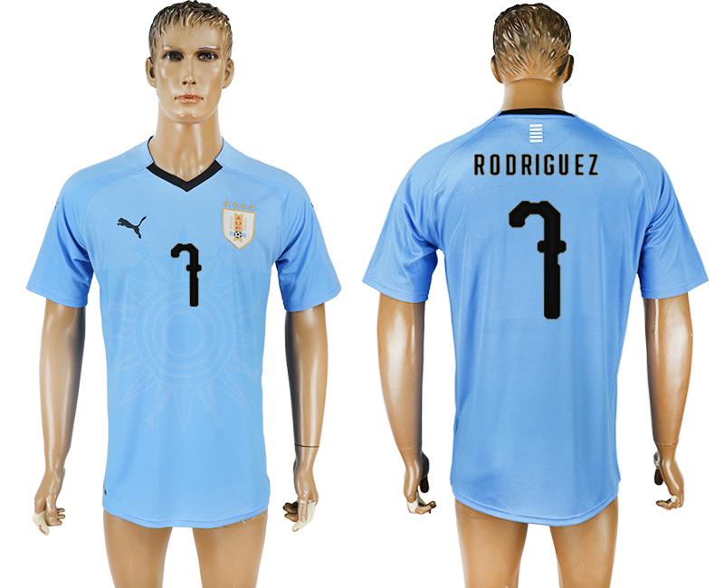 Uruguay 7 RODRIGUEZ Home 2018 FIFA World Cup Thailand Soccer Jersey