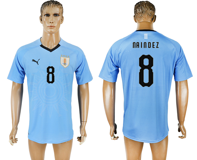 Uruguay 8 NAINDEZ Home 2018 FIFA World Cup Thailand Soccer Jersey