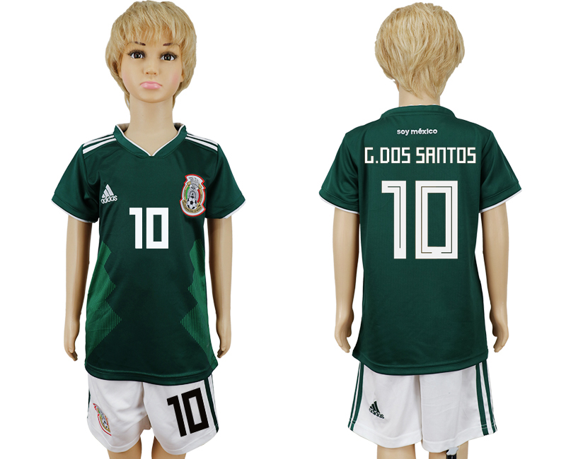 Mexico 10 G.DOS SANTOS Home Youth 2018 FIFA World Cup Soccer Jersey