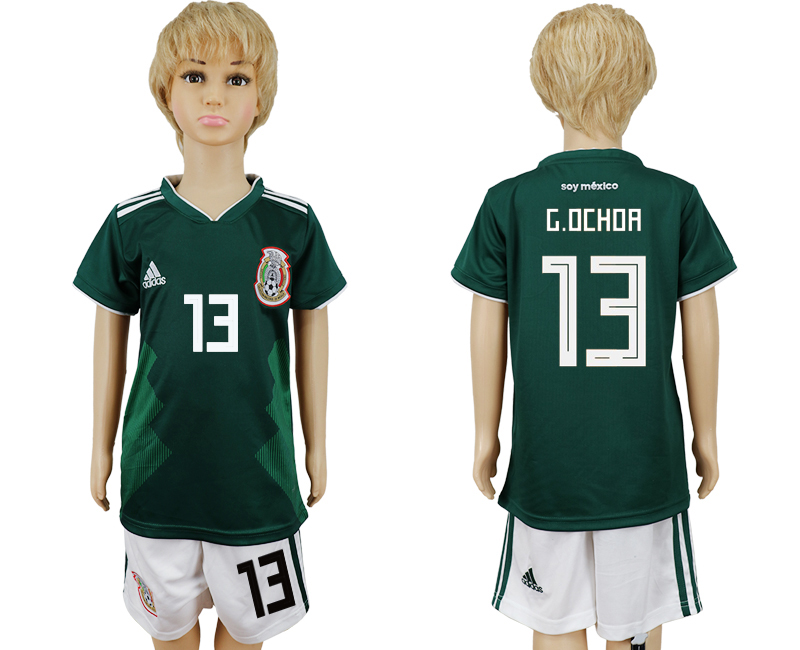 Mexico 13 G.OCHOR Home Youth 2018 FIFA World Cup Soccer Jersey