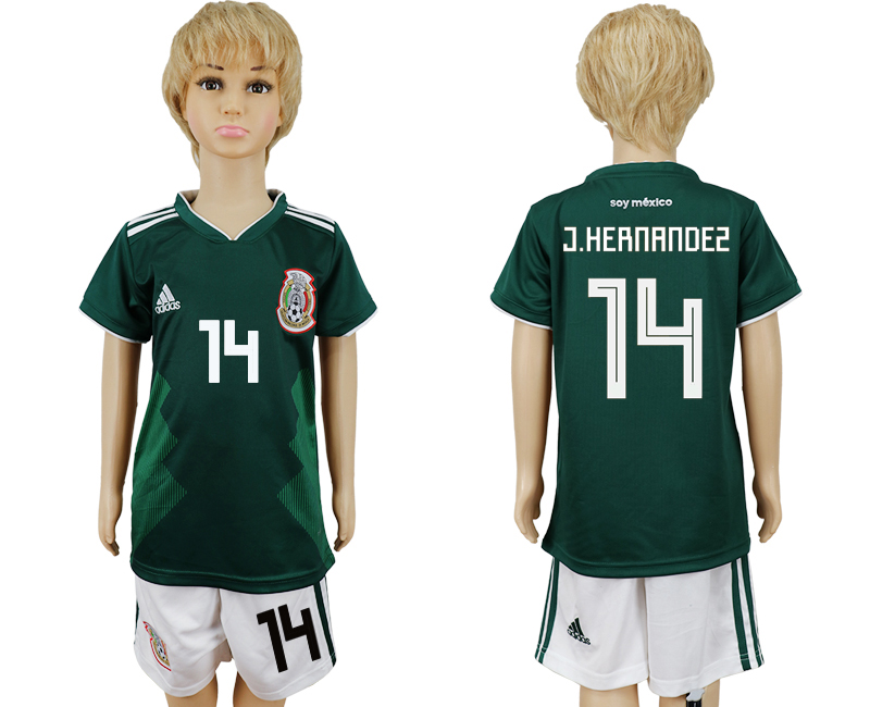 Mexico 14 J.HERNANDEZ Home Youth 2018 FIFA World Cup Soccer Jersey