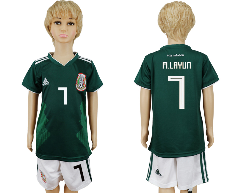 Mexico 7 M.LAYUN Home Youth 2018 FIFA World Cup Soccer Jersey