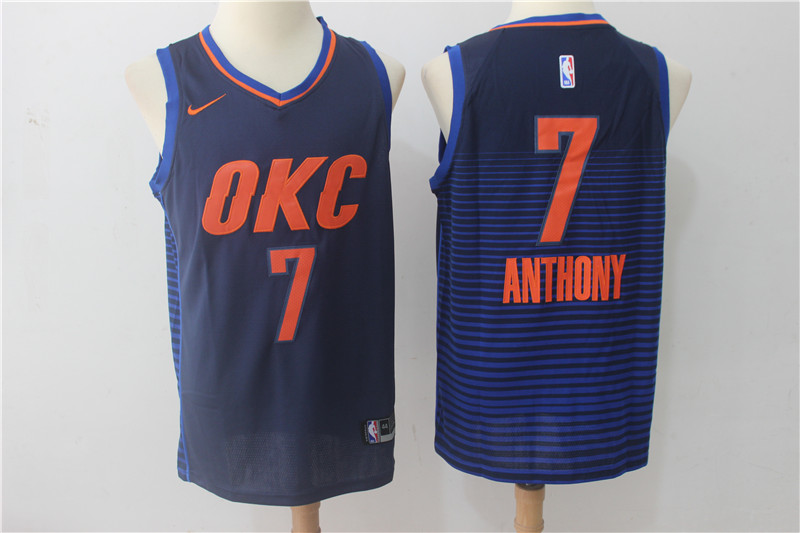 Thunder 7 Carmelo Anthony Navy Nike Swingman Jersey