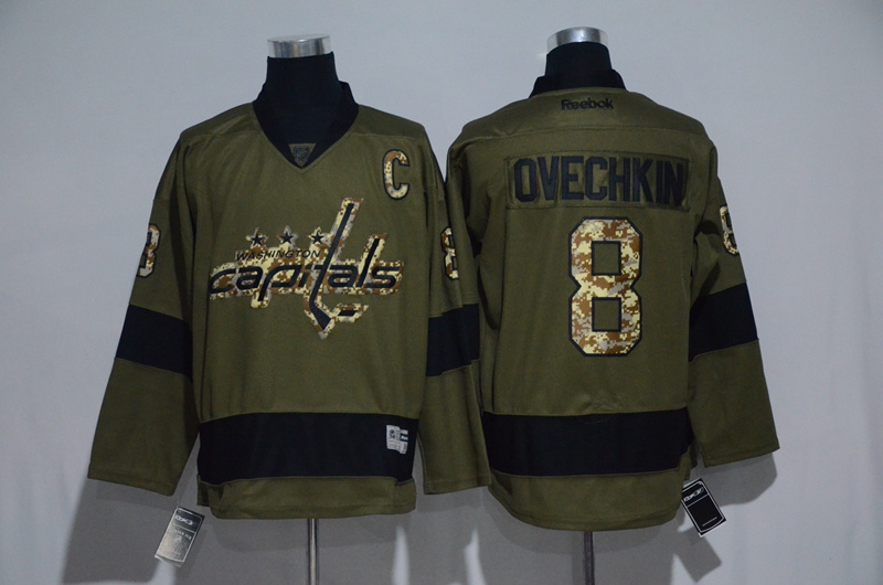 Capitals 8 Alexander Ovechkin Olive Green Salute to Service Reebok Jersey