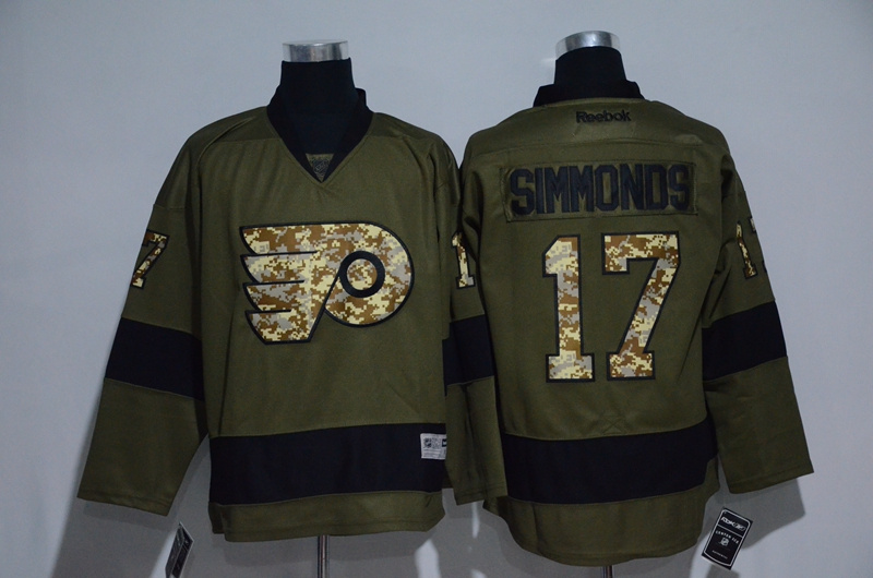 Flyers 17 Wayne Simmonds Olive Green Salute to Service Reebok Jersey