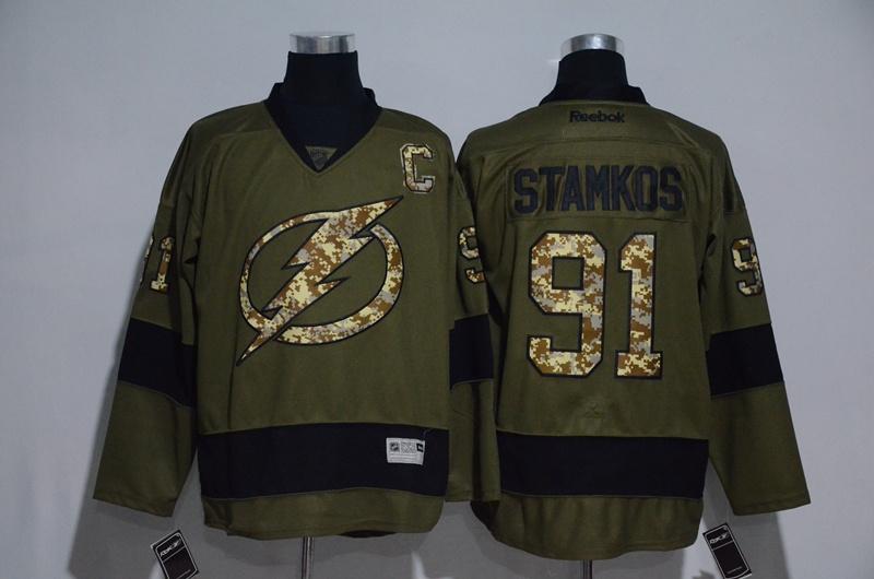Lightning 91 Steven Stamkos Olive Green Salute to Service Reebok Jersey