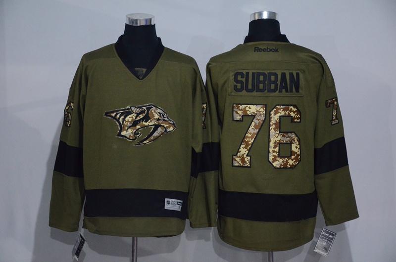 Predators 76 P.K. Subban Olive Green Salute to Service Reebok Jersey