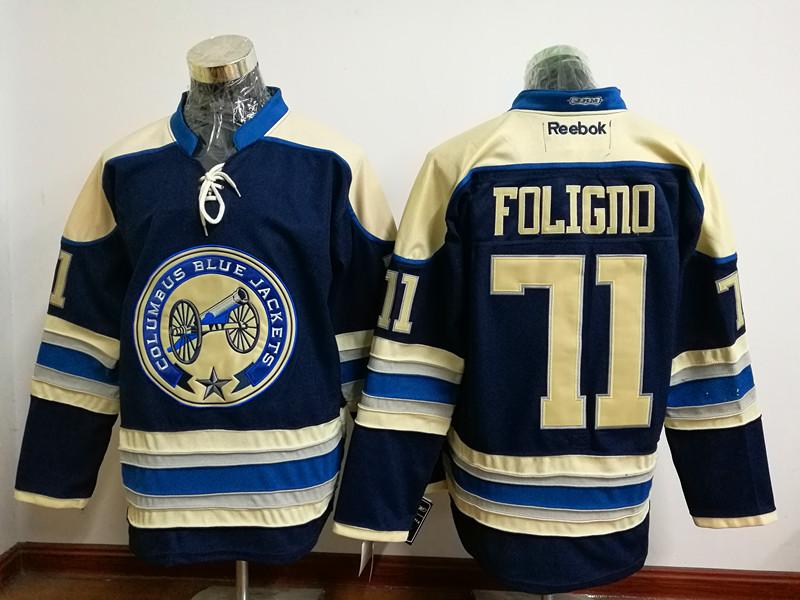 Blue Jackets 71 Nick Foligno Navy Blue Reebok Jersey