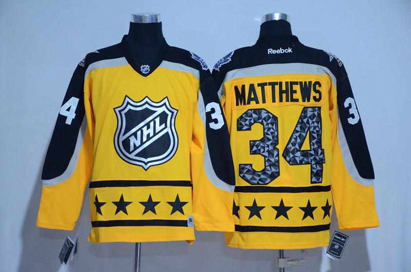 Maple Leafs 34 Auston Matthews Yellow Atlantic Division 2017 NHL All-Star Game Premier Jersey