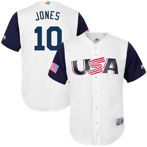 Men's USA Baseball 10 Adam Jones White 2017 World Baseball Classic Jersey