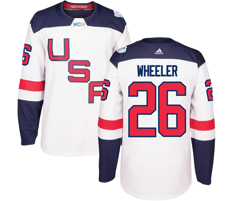 USA 26 Blake Wheeler White 2016 World Cup Of Hockey Premier Player Jersey