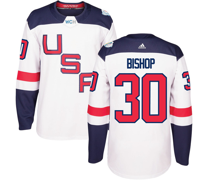 USA 30 Ben Bishop White 2016 World Cup Of Hockey Premier Player Jersey