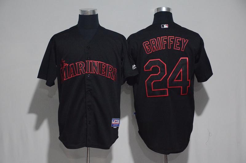 Mariners 24 Ken Griffey Jr. Black Cool Base Jersey