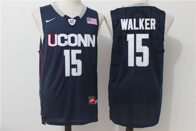 UConn Huskies 15 Kemba Walker Navy College Basketball Jerse