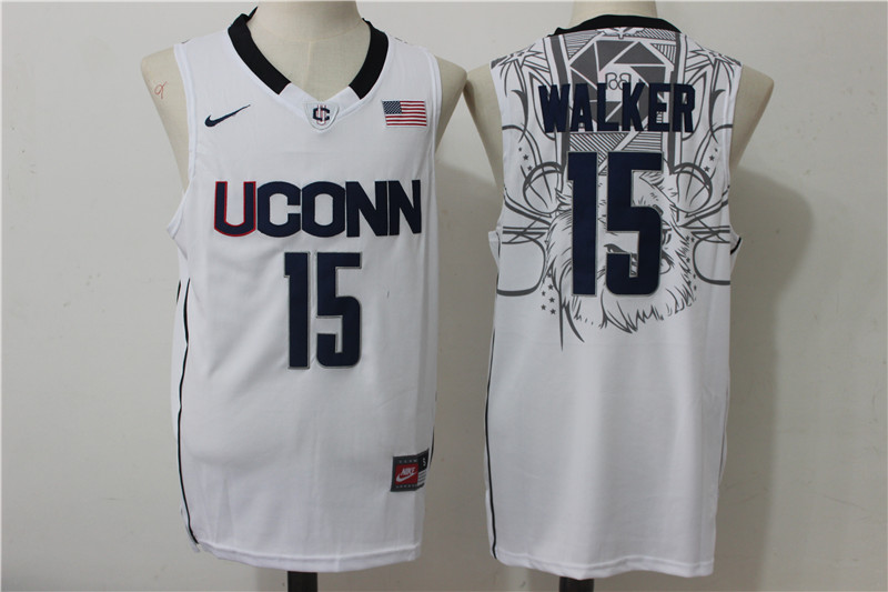 UConn Huskies 15 Kemba Walker White College Basketball Jersey