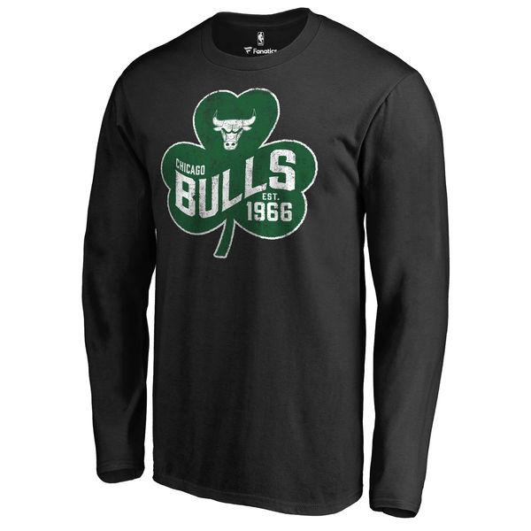 Chicago Bulls Fanatics Branded Black Big & Tall St. Patrick's Day Paddy's Pride Long Sleeve T-Shirt