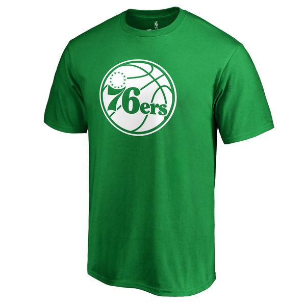 Philadelphia 76ers Fanatics Branded Kelly Green St. Patrick's Day White Logo T-Shirt