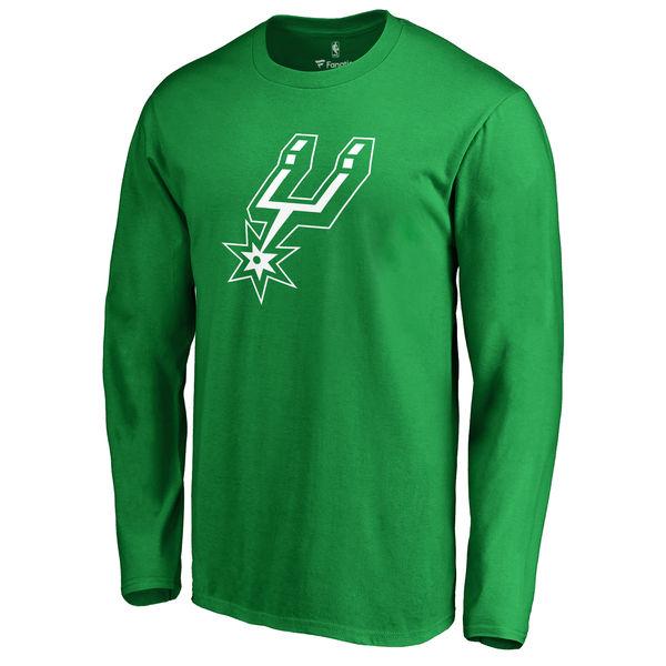 San Antonio Spurs Fanatics Branded Kelly Green St. Patrick's Day White Logo Long Sleeve T-Shirt