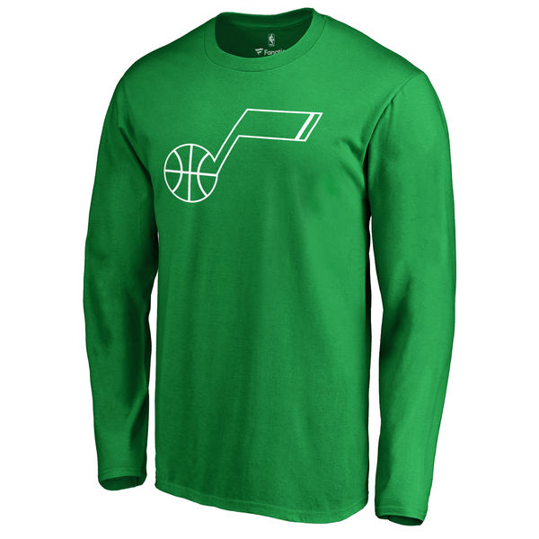Utah Jazz Fanatics Branded Kelly Green St. Patrick's Day White Logo Long Sleeve T-Shirt