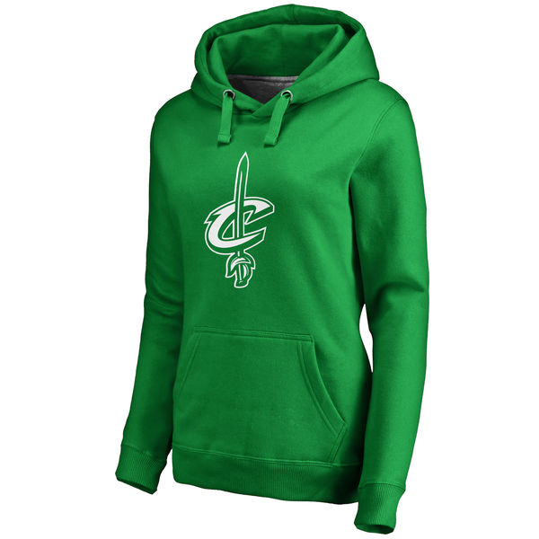 Cleveland Cavaliers Fanatics Branded Women's Kelly Green St. Patrick's Day White Logo Pullover Hoodie