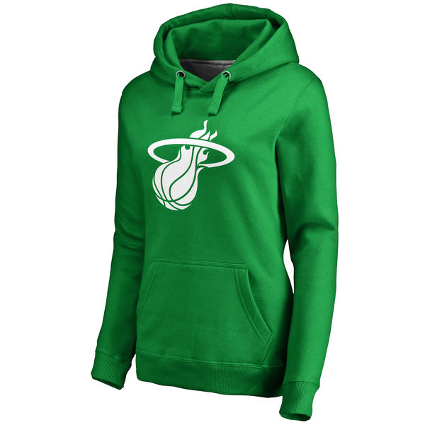 Miami Heat Fanatics Branded Women's Kelly Green St. Patrick's Day White Logo Pullover Hoodie