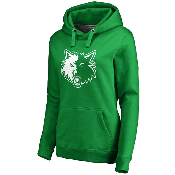 Minnesota Timberwolves Fanatics Branded Women's Kelly Green St. Patrick's Day White Logo Pullover Hoodie