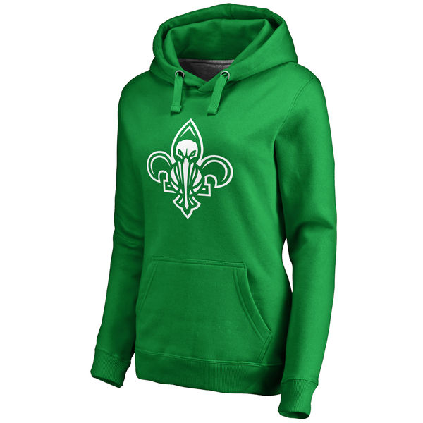 New Orleans Pelicans Fanatics Branded Women's Kelly Green St. Patrick's Day White Logo Pullover Hoodie
