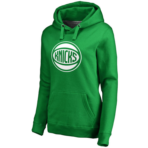 New York Knicks Fanatics Branded Women's Kelly Green St. Patrick's Day White Logo Pullover Hoodie