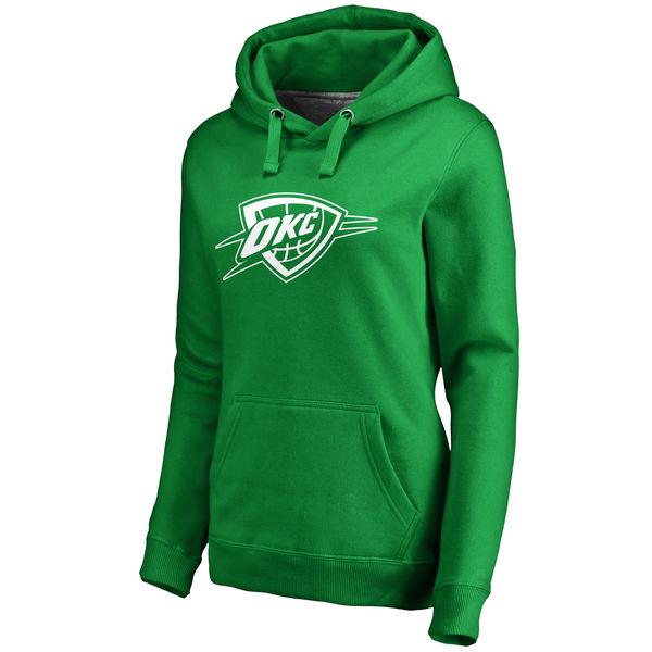 Oklahoma City Thunder Fanatics Branded Women's Kelly Green St. Patrick's Day White Logo Pullover Hoodie