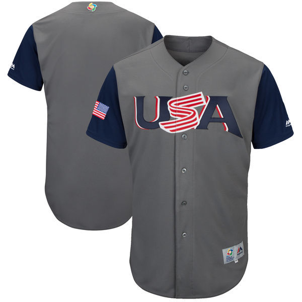 Men's USA Baseball Majestic Gray 2017 World Baseball Classic Authentic Team Jersey