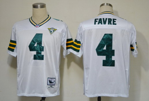 Packers 4 Brett Favre White Throwback Jersey