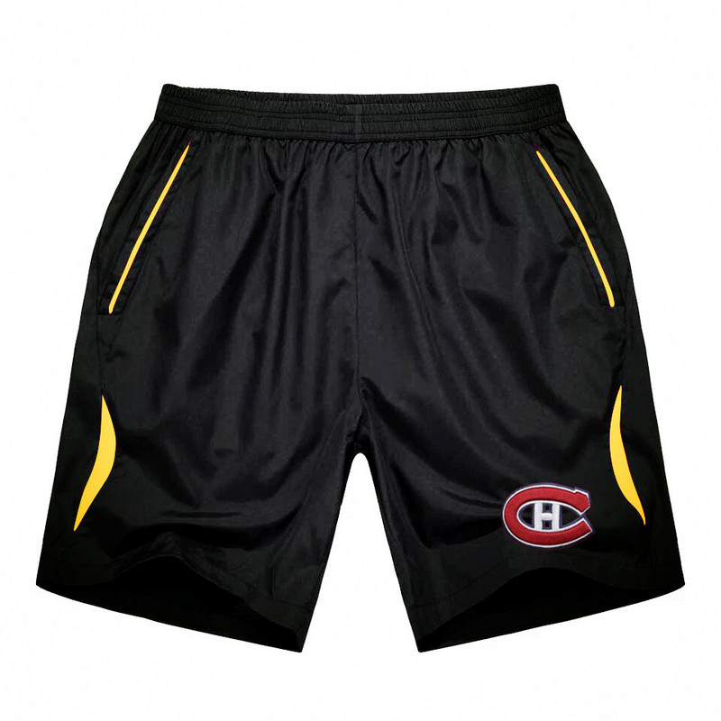 Men's Montreal Canadiens Black Gold Stripe Hockey Shorts