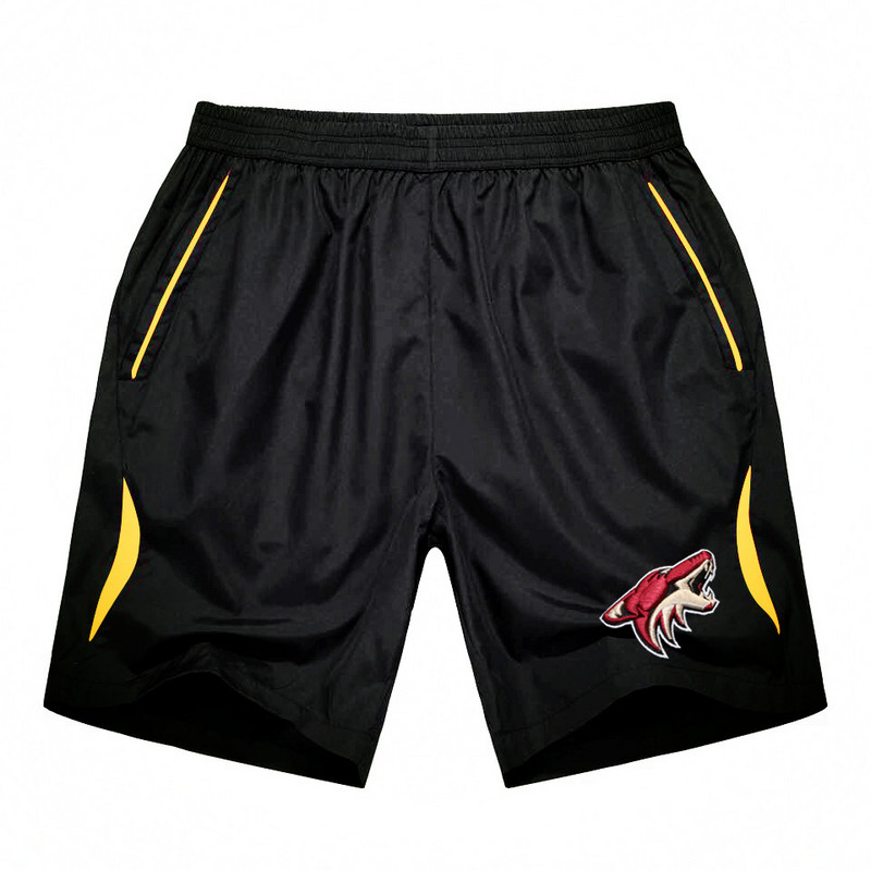 Men's Phoenix Coyotes Black Gold Stripe Hockey Shorts