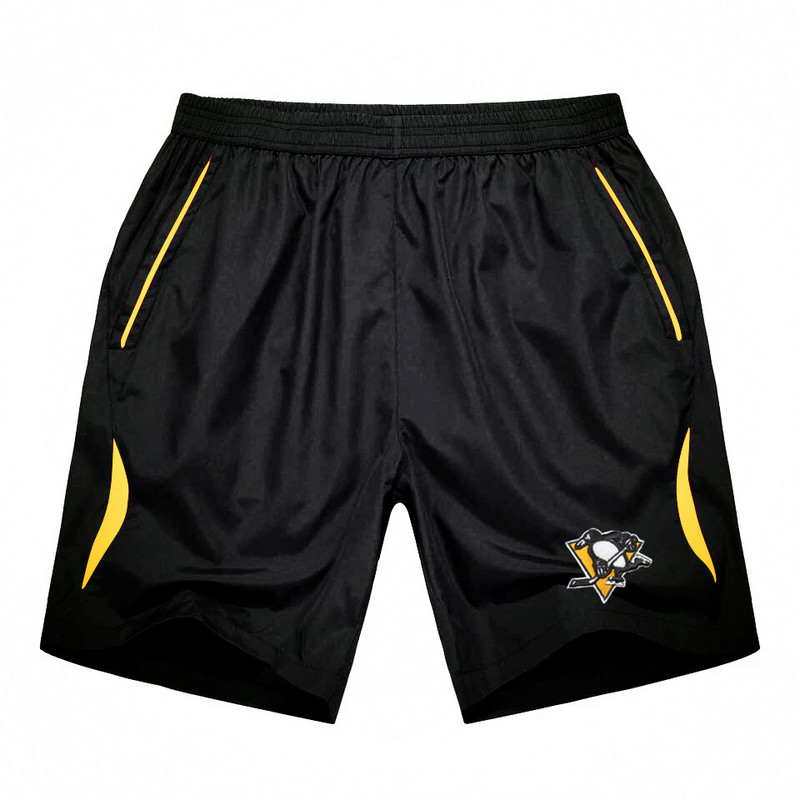 Men's Pittsburgh Penguins Black Gold Stripe Hockey Shorts