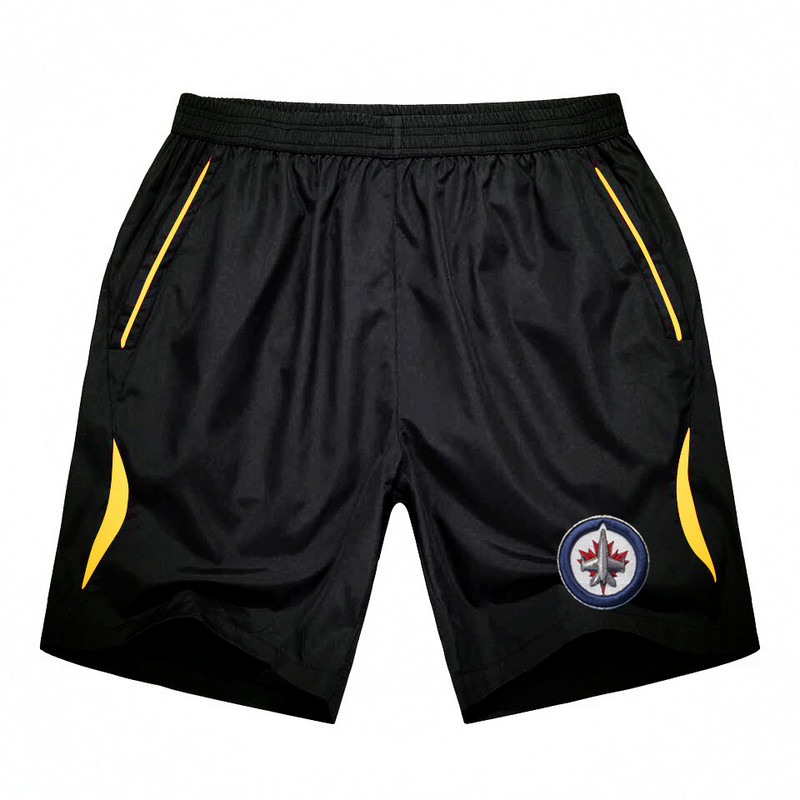 Men's Winnipeg Jets Black Gold Stripe Hockey Shorts