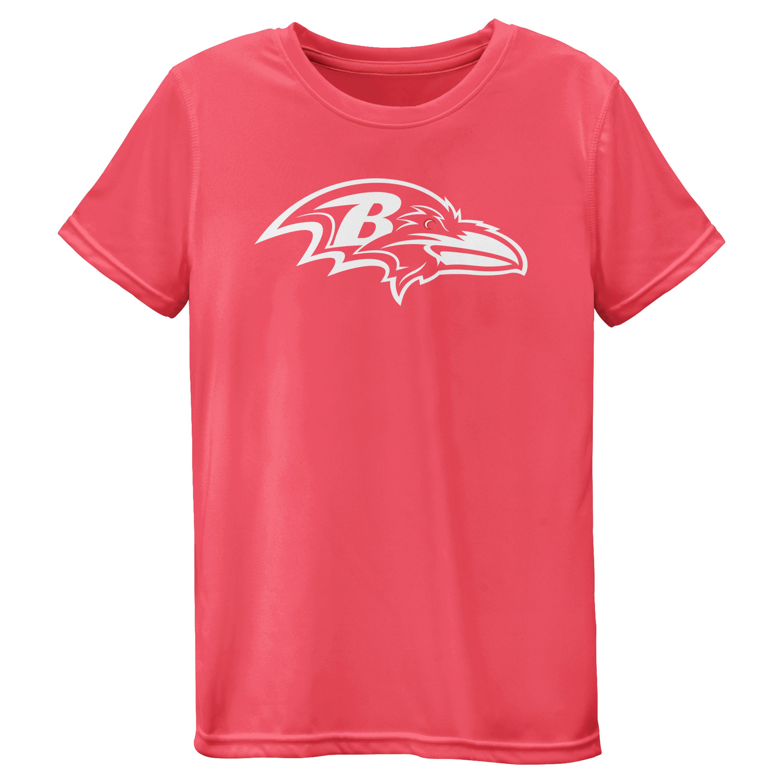 Baltimore Ravens Girls Youth Pink Neon Logo T-Shirt