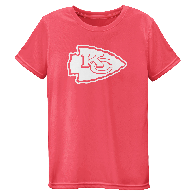 Kansas City Chiefs Girls Youth Pink Neon Logo T-Shirt