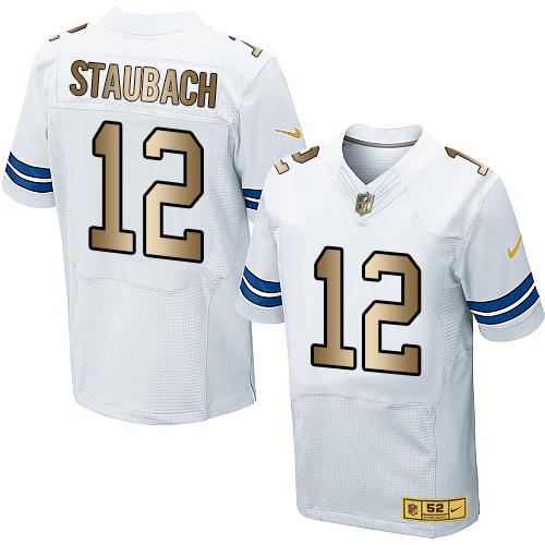 Nike Cowboys 12 Roger Staubach White Gold Elite Jersey