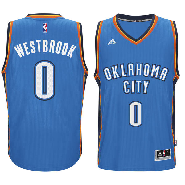 Thunder 0 Russell Westbrook Blue Swingman Jersey