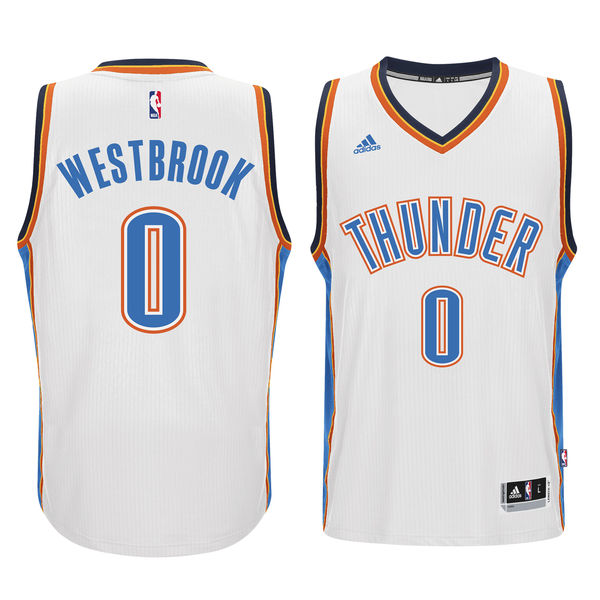 Thunder 0 Russell Westbrook White Swingman Jersey