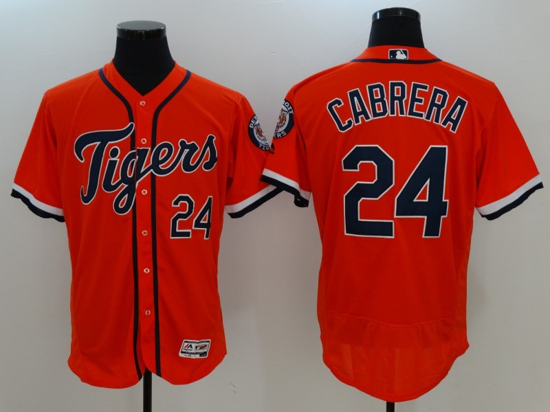 Tigers 24 Miguel Cabrera Orange Flexbase Jersey